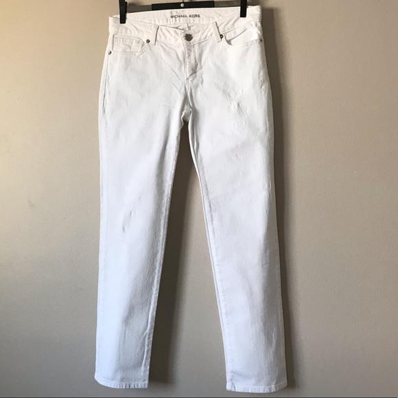 Michael Kors Denim - Michael Kors skinny distressed white jeans size 2